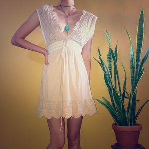 Vintage Babydoll Dress - Short, Mini, Stitching